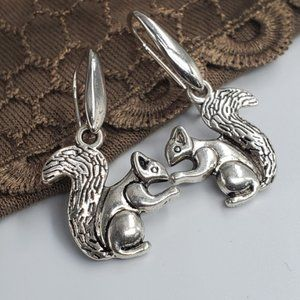 Silver Squirrels Anthro Earrings New